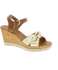 ca146acad7499 MARCO TOZZI sandály na klínku hnědé/zlaté - MUSCAT COMB 2-28372-38
