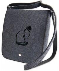Vysněné kabelky Kabelka pošťačka Kočky 03 - antracit-černá d676036e97e