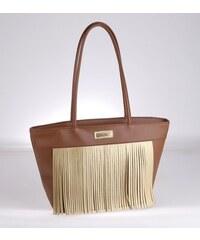 0692e27bc5fd Elegantná kabelka z PVC Kbas so strapcami hnedá