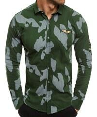 023f77403ad0 Buďchlap Módna zelená košeľa s dlhým rukávom ZAZZONI 1113
