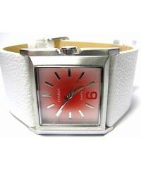 1dae019a447 Luxusní bílé hranaté ocelové dámské hodinky Foibos 2564 s růžovo-červeným  čísel.