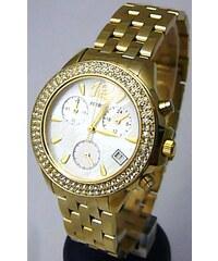 Luxusní zlaté dámské chronografy poseté zirkony - hodinky Foibos 1361 5ATM d008c523706