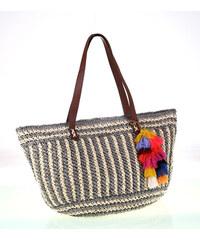 75ea2cfca Dámska taška zo syntetickej rafie Kbas s príveskom farebnými strapcami  šedo-krémová