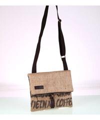 Dámska kabelka cez rameno z recyklovanej juty Kbas s motívom kávy hnedá  085746 6b7552f28dd