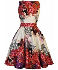 Dámské retro šaty Lady Vintage Red Rose Floral Collage Lady Vintage AW16TE 5dbe91876a