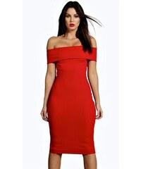 a528b9370d94 Červené ľanové šaty s odhalenými ramenami Miss Selfridge Button. Veľkosť   XS M L XL XXL. Detail produktu · BOOHOO Červené šaty India v Bardot dizajne