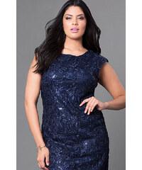 Glamor Modré šaty s flitrami 03b4aba4eac