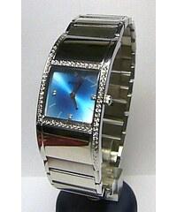 Dámské ocelové moderní hodinky Foibos 1H50 s modrým číselníkem a zirkony 64f58e08b38
