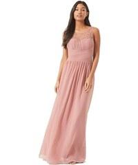 LITTLE MISTRESS Dlhé šaty vo Staro-ružové Barve s korálkami na topov abd668fd1bc
