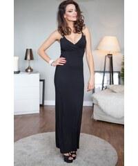 7a7036d16f8e Fasardi Čierne šaty na ramienka s véčkovým výstrihom