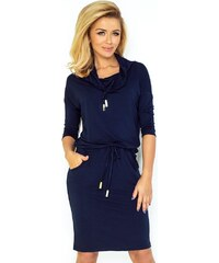 53a811cf5661 Numoco Tmavě modré šaty s volným rolákem a páskem