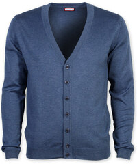 Pánský svetr typu cardigan Willsoor (velikosti do 5XL) 7880 v modré barvě 32e19f7704