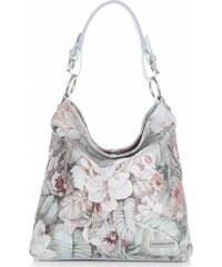 3c4e18e876 VITTORIA GOTTI Made in Italy Kožená kabelka vzor v květech multicolor  Světle modrá