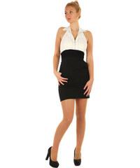 YooY Mini šaty s odhalenými zády a límečkem (černá bílá 1a7063a34a