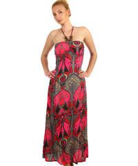 f6db5d6adea Glara Dlouhé vzorované šaty se zavazováním za krk