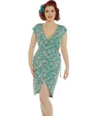 Světle modré šaty s bílými puntíky Lindy Bop Polly. V 6 velikostech. Detail  produktu. Zavinovací šaty s kytičkami Lindy Bop Becca 8971d0058d