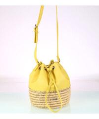 Dámska kabelka cez rameno zo syntetickej rafie a eko kože Kbas žltá 318711AM 69fa52b8790