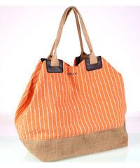 3b92e7a09 Plátěná taška Kbas oranžová s bílými proužky