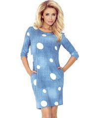 6c56ddef1aa8 numoco Džínsové modré šaty s vreckami a bielymi kolieskami 40-11