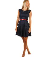 9ec4876a13be Glara Tmavo modré retro šaty s bodkami