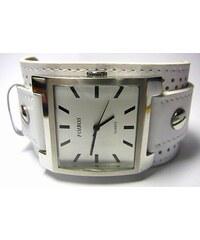 Mohutné velké hranaté bílé dámské hodinky Foibos 1878 s bílým páskem 4613f1cc7a