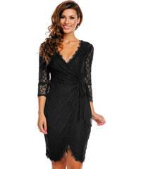 b19ed31f1cae Společenské a plesové šaty MAYAADI krajkové falešně zavinovací černé