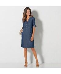 f0a9c4341a22 Blancheporte Denimové šaty s rukávy na ohrnutí modrá