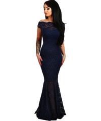 NoName 001 Společenské šaty krajkové tmavě modré dlouhé ba12852730