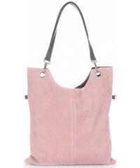 Genuine Leather Univerzální Kožené kabelky světle růžová e32ec142d00
