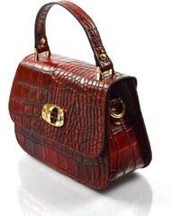 Kožená luxusní menší bordó červená crossbody kabelka Zoe VERA PELLE 20133 acf57b7052f