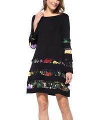 Desigual černé šaty Paloma s květovanými pruhy - S 77a8648cb0