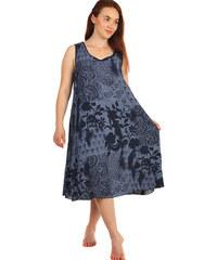 YooY Volné šaty s květinovým vzorem - i pro plnoštíhlé (tmavě modrá f0bb70c385