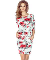 b4c23bd8ef9 Šaty sportovního střihu NUMOCO 13-73 červené květy XL