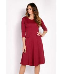 Rubínové šaty s tříčtvrtečním rukávem - Glami.cz 248d63750fe