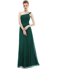 8009989554d2 Plesové dlouhé šaty na jedno rameno Ever Pretty zelená