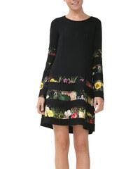 Desigual čierne šaty Flare Sleeve Dress Rep a22f7ce3cbc