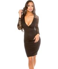 Koucla Dámske puzdrové šaty s dlhými čipkovanými rukávmi 6a13860d17a