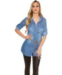 83a7fadd61b0 In-Style Dámska džínsová košeľa s opaskom