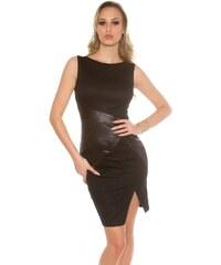 Koucla Dámske puzdrové šaty s aplikáciami koženého vzhľadu b62aeccb15e