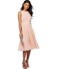 BOOHOO Kiki Šifónové růžové midi šaty 8f88b23b63