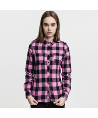 893c574dca Urban Classics Ladies Turnup Checked Flanell Shirt blk/rose