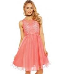 Dámské společenské šaty bez rukávů ISABELLE korálové 9085 Charm s Paris 9085 5864a600827