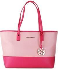 Ružové kožené kabelky shopperky veľké Charo Garcia 18861 9b3f0722595