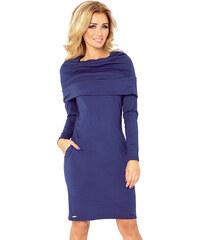 ae031875da05 numoco Tmavě modré šaty s rolákem 131-5