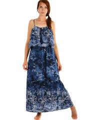 YooY Dlouhé batikované letní maxi šaty (tmavě modrá 8b61729eb6