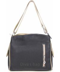 09b36ab67671 Diva Természetes bőr Grézs-fekete Táska cod. S7034-Black+taupe