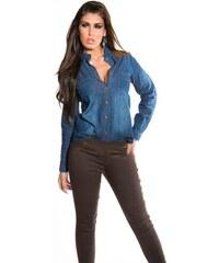 76dd148e290f In-Style Štýlová dámska riflová košeľa s aplikáciami koženého vzhľadu