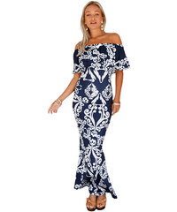 6c85565b81c7 NoName Dámské dlouhé květované šaty k moři modré