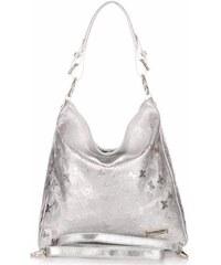Dámská kožená kabelka Vittoria Gotti V23 motýl stříbrná fee7dff37f6