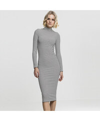 Urban Classics Ladies Striped Turtleneck Dress black white 1814c89232